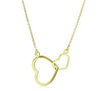 Miore Damen-Collier Halskette Doppelt Herz Anhänger 375 Gelbgold 45 cm - MGM905N