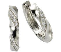 Silver Damen-Creolen 925 Silber rhodiniert Zirkonia weiß Brillantschliff - 471210012