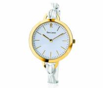 Damen - 115L500, trendige Damen-Armbanduhr Anastasie Quarz analog Leder Weiß