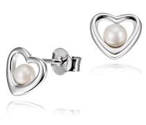 Damen-Ohrstecker Herz Südsee-Zucht-Perle 925 Sterling Silber