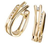 Damen-Creolen 585 Gelbgold 12 Diamanten 0,10ct Ohrringe Brillanten Schmuck