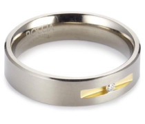Damen-Ring Titan Bicolor 1 Brilliant 0,03 ct Gr.63 0101-0863