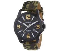 Regent Herren-Armbanduhr XL Analog Quarz Leder 11110678