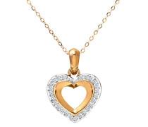 Damen-Halskette 9 Karat 375 Gelbgold Diamant 0,25 ct weiß Rundschliff 46 cm PP01810Y