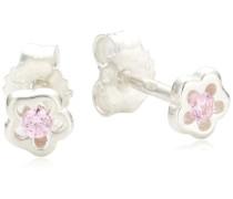 Kinder-Ohrstecker 925 Sterling Silber Blume Kristall pink 371220286-2