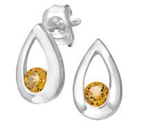 Damen-Ohrstecker 9 K Tränen 0,25 ct Citrin Ohrringe 375 Weißgold rhodiniert gelb rundschliff