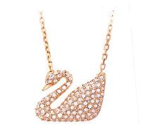 Damen-Collier Swan roségold teilvergoldet Glas weiß - 5121597