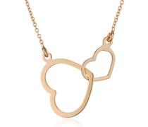 Damen-Collier Halskette Doppelt Herz Anhänger 375 Gelbgold 45 cm - MGM905N