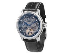 Longitude Shadow ES-8063-04 Herren-Armbanduhr mit Automatikgetriebe, schwarzes Zifferblatt mit Skelett-Anzeige, schwarzes Lederarmband