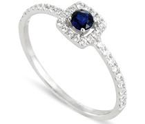 Damen-Ring 9 Karat (375) Weißgold Saphir-badm 07079-0001