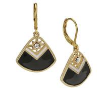 Gold, Schwarz und Weiß mit Kristall Diamantakzente Ohrringe, Emaille, Kühlerlüfter