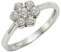 ZEEme Silver Damen-Ring 925 Silber rhodiniert Zirkonia weiß Brillantschliff