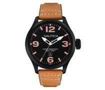 Nautica Herren-Armbanduhr XL Analog Quarz Leder A14633G