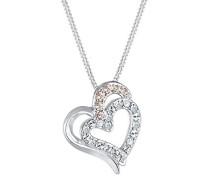 Damen-Kette mit Anhänger Herz 925 Silber Kristall Rundschliff 45 cm-0106631416_45
