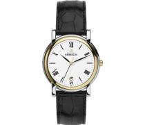 Herren-Armbanduhr Analog Leder schwarz 12243/T01