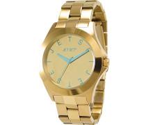 –j69798–752Damen-Armbanduhr 045J699Analog gold Armband Stahl zweifarbig