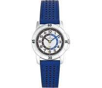 –647495–Armbanduhr–Quarz Analog–Weißes Ziffernblatt–Armband Leder Blau
