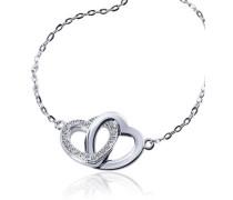 Damen-Armband 925 Sterlingsilber Herzen 26 weiße Zirkonia