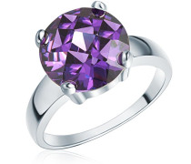 Damen-Ring Classic Collection 925 Sterling Silber Zirkonia violett facettiert