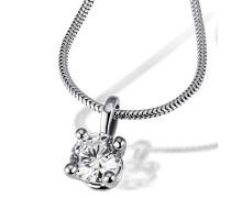 Damen-Kette mit Anhänger Solitär 4er Stotzen, inklusiv externer Expertise 750 Diamant (1.00 ct) weiß Brillantschliff 45 cm - So C6737