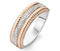 - Ring 925 Sterling-Silber  rhodiniert Silber Rundschliff   weiß Cristal