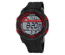 Herren Digitale Armbanduhr mit LCD Dial Digital Display und schwarz Kunststoff Gurt k5697/6