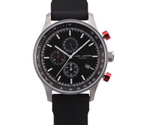 133SBBS Analoge Quarzuhr für Herren, mit schwarzem Zifferblatt und schwarzem Uhrband aus Silikon