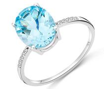 Damen-Ring 375 Weißgold rhodiniert Topas blau Ovalschliff Diamant (0.035 ct)