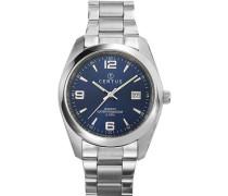 –Comfortkissen 615317-men-Armbanduhr Analog Quarz Silber Zifferblatt Stahl Strap, blau
