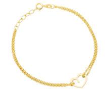 Damen-Armband 925 Sterling Silber Vergoldet Herz Länge 17cm + 2cm