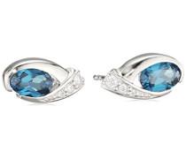 Damen-Ohrstecker 925 Sterling-Silber Ovalschliff Blau Topas