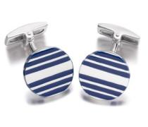 Hoxtons London Herren Sterling Silber Blauer Emaille Gestreifte Runde Manschettenknöpfe