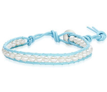 Damen-Armband Leder Perle Süßwasser-Zuchtperle Creme 29.3 cm - 60923052