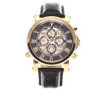 Automatik Armbanduhr von  für Männer mit einem echten Diamanten mit Schwarzem Zifferblatt Analoger Anzeige und Schwarzem Armband aus Leder SK14H036