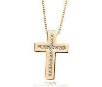Halskette 585 Gelbgold Kreuz 17 Lupenreine  Diamanten 0,25 Karat Kettenanhänger Brillanten Schmuck Diamantkette