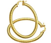 Damen-Ohrhänger Creolen 9 Karat Diamantschliff 30 mm 375 Gelbgold RIL1304Y