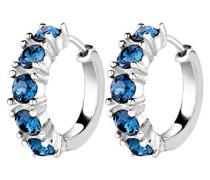 Damen-Creolen Kristall Creolen 925 Sterling Silber mit Swarovski Kristallen im Brillantschliff blau   - 0311962514