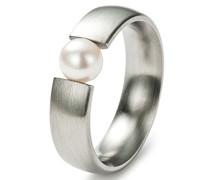Damen-Ring Edelstahl 1 Süßwasserperle weiß