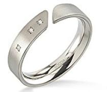 Damen-Ring Titan mattiert Diamant (0.015 ct) weiß Brillantschliff