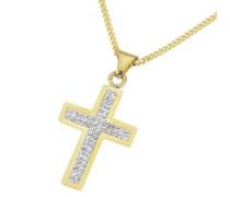 Crystelle Damen-Halskette 8 Karat (333) Gelbgold Swarovski Kristalle weiß mit Anhänger 42+3 cm 500341012