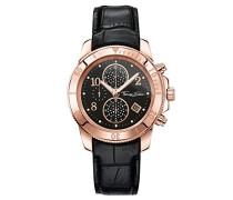 Damen-Armbanduhr Glam Chrono Rosegold Schwarz Analog Quarz