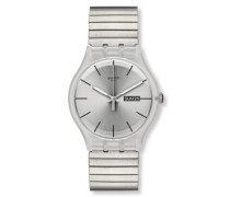 Swatch Herren-Armbanduhr XL Resolution Large Analog Quarz Edelstahl beschichtet SUOK700A