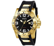 Invicta Herren-Armbanduhr 53mm Armband Kunststoff Schwarz Gehäuse Edelstahl Schweizer Quarz Analog 10506