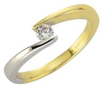 Fascination by Ellen K. Damen-Ring 375 Gelbgold teilrhodiniert Zirkonia Rundschliff weiß