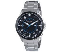 Regent Herren-Armbanduhr XL Analog Quarz Edelstahl 11150586