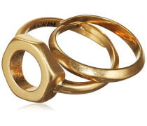 Jewelry Damen-Stapelring Messing aus der Serie teil vergoldet, 1.3 cm Gr. 53 (16.9) 101322004