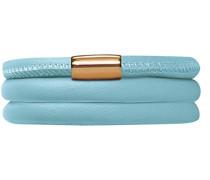 Damen-Armband Light Blue 2-reihig Edelstahl teilvergoldet Leder 40.0 cm - 12511-40