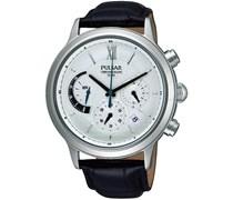 Pulsar Uhren Herren-Armbanduhr XL Klassik Chronograph Quarz Leder PU6005X1