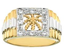 Damen-Ring 9 K 375 Bicolor Zirkonia DIV141-U