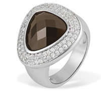 Damen-Ring Pavee 925 Sterlingsilber 1 brauner Glaskristall 77 Zirkonia